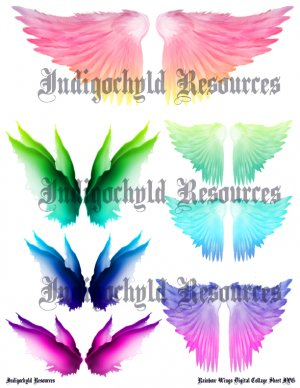 Rainbow Wings Digital Collage Sheet JPG