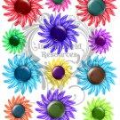 Button Flowers Digital Collage Sheet JPG
