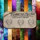 Steampunk Static Digital Scrapbooking Paper Pack
