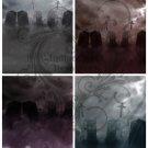 Spooky Cemetery Backgrounds Digital Collage Sheet JPG