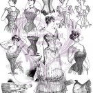 Victorian Corset Illustrations Digital Collage Sheet JPG