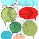 Retro Thought Bubbles Digital Collage Sheet JPG