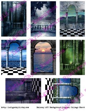 Balcony ATC Digital Collage Sheet JPG