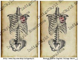 Bones and Hearts Digital Collage Sheet JPG