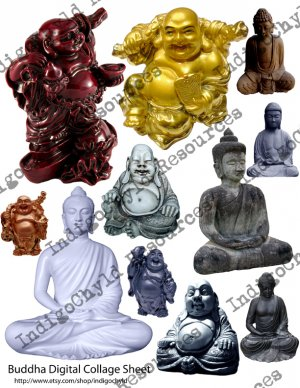 Buddha Digital Collage Sheet JPG