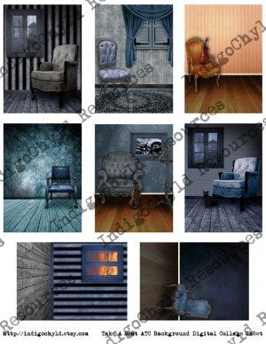 Take A Seat ATC Background Digital Collage Sheet JPG