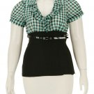 Turquoise plaid blouse with black stretch bottom with belt