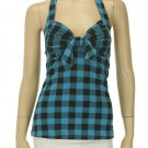 Blue with black plaid halter top