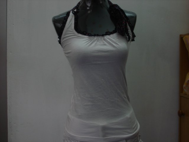 White tee with laces