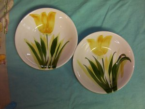 WestWood IRONSTONE-Two Beautiful Tulip Cereal,  Vegetable Bowls-FREE SHIPPING
