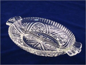 Vintage Anchor Hocking Thousand LIne Stars and Bars Divided Pressed Glass Relish Dish