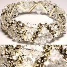 Elegant Double Row Crystal Bead Stretch Bracelet with Rhinestones 8.5""