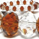"""Brown and Clear Crystal Faceted Beads Stretch Bracelet 8.5"""""""