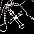 Designer Inspired Stainless Steel Tribal Cross Pendant on a Stainless Steel Ball Chain