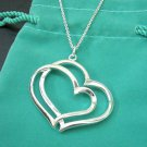 New 925 Sterling Silver Overlapping Hearts Necklace