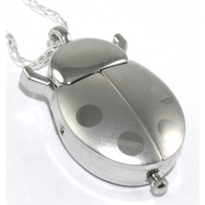Silver Ladybug Watch Necklace