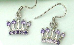 Sterling Silver Plated Purple Crown Earrings
