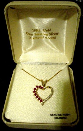 18K Gold Ruby Heart Pendant Necklace