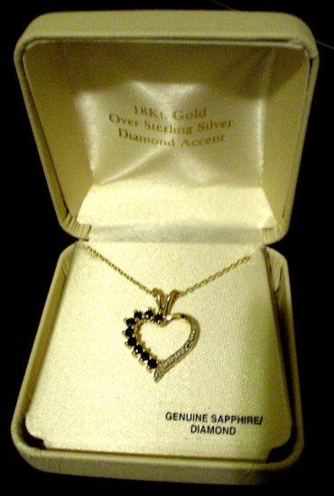 18K Gold Sapphire Heart Necklace