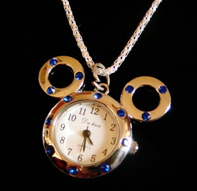 Blue Mickey Mouse Watch Necklace