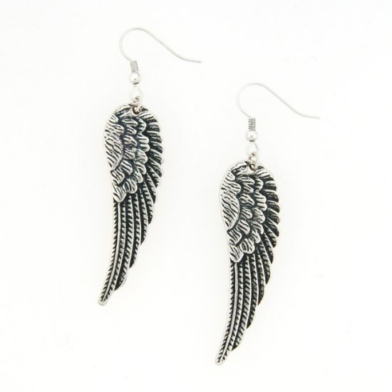 Antique Silver Angel Wing Earrings