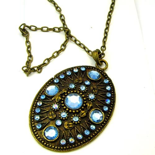 Ethnic Tribal African Bronze Copper Shield Blue Pendant Necklace