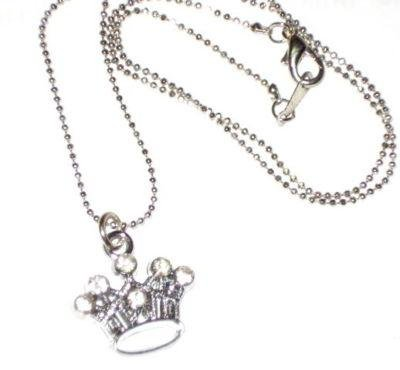 Silver Crystal Pendant Crown Necklace