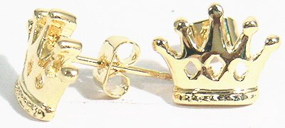 18K Gold Plated Crown Stud Earrings