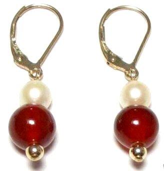 Genuine Freshwater Pearl & Blood Red Jade Earrings