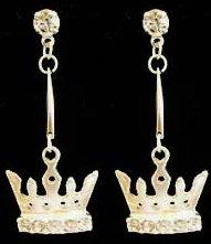 Silver Light Green Crystal Crown Earrings