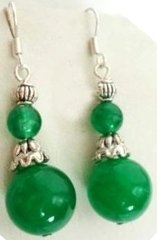Genuine Green Jade Earrings [style1]