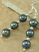Genuine Black Freshwater Pearl Dangle Earrings