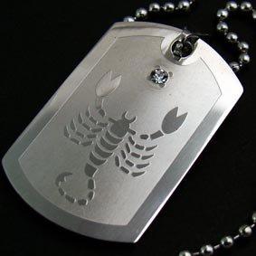 Silver Scorpion Scorpio Zodiac Dogtag Necklace