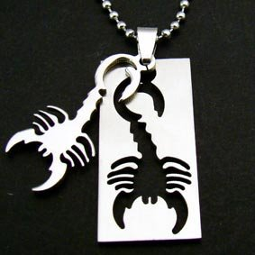 Scorpion Scorpio Zodiac Dogtag Pendant Chain Necklace [large]