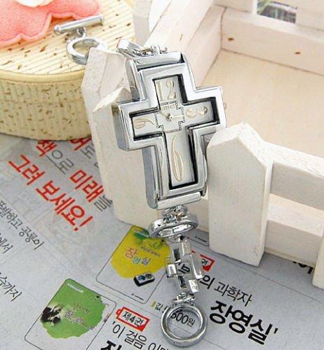 Silver Christian Cross Wrist Watch Bracelet