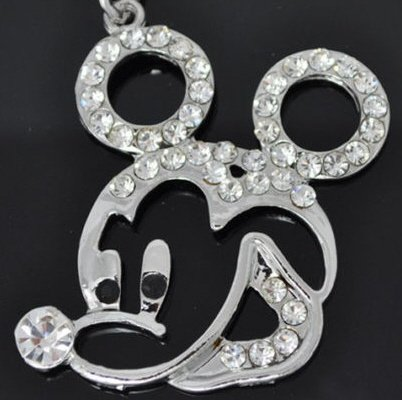 Crystal Mickey Mouse Pendant Necklace