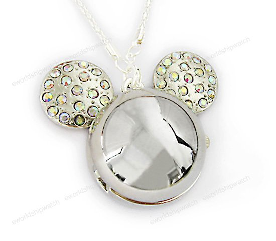 Silver Crystal Mickey Mouse Watch Necklace