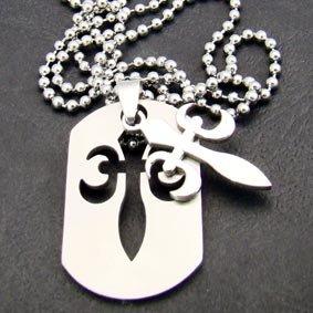 """Silver """"Fleur De Lis"""" Pendant Necklace [style1]"""