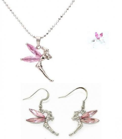 Pink Tinkerbell Necklace Earrings Ring Set