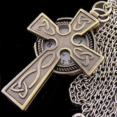 Antique Bronze Celtic Christian Cross Watch Necklace