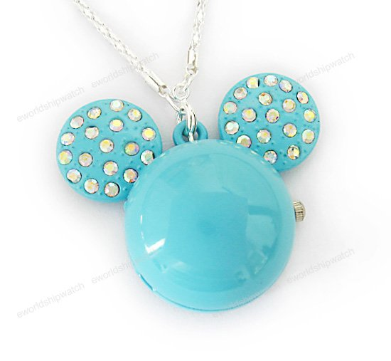 Blue Crystal Mickey Mouse Watch Necklace