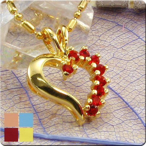 18K Gold Plated Ruby Heart Pendant Necklace