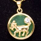 Gold Jade Ram Goat (Chinese Zodiac) Pendant Necklace