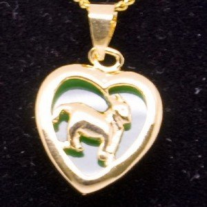 Gold Jade Ram Goat (Chinese Zodiac) Heart Pendant Necklace