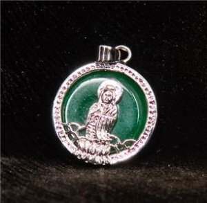 Silver Jade Kwan Yin Guan Yin Avalokite�vara Bodhisattva Buddhist Amulet Talisman Pendant [style3]