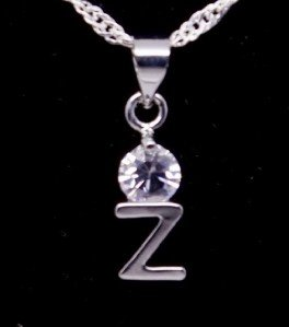 "Silver Crystal ""Z"" Initial Letter Pendant Necklace"