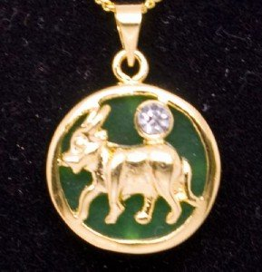Gold Jade Ox Cow (Chinese Zodiac) Pendant Necklace
