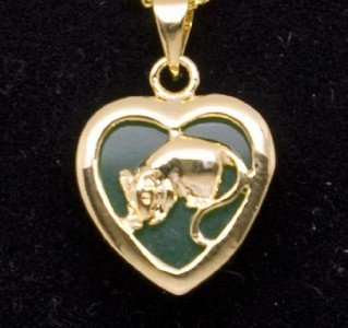 Gold Jade Rat (Chinese Zodiac) Heart Necklace