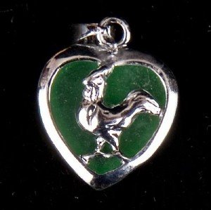 Silver Jade Rooster (Chinese Zodiac) Heart Necklace