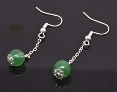 Dangling Green Bead Earrings
